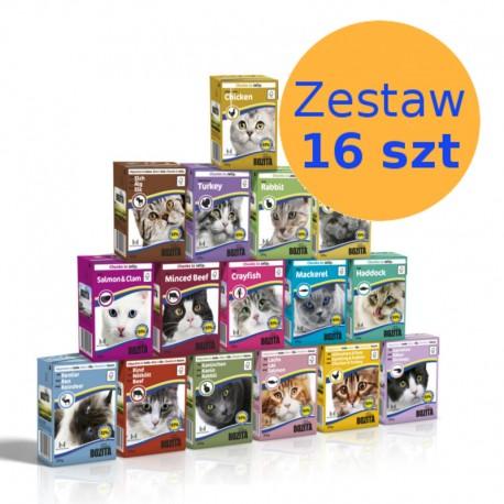 Zestaw 16 kartoników dla kota w dowolnej kombinacji smaków